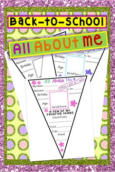 Back to school Kindergarten activity All About Me Pennant A great get to know me activity #tpt #teacherspayteachers #tptpins #kindergarten #printables