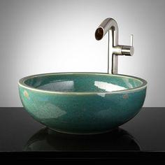Goodwyn Hand-Glazed Pottery Vessel Sink - Robin's Egg