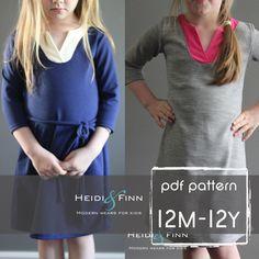 Wonderland Dress PDF pattern and tutorial 12m  12y by heidiandfinn
