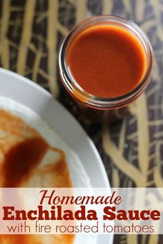 Homemade Enchilada Sauce made with fire roasted tomatoes and fresh cilantro