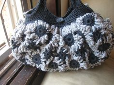 Crochet Flower Purse Blue grey and Light by MeladorasCreations, $40.00