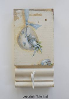 Teacup Eggs painting on Antique Plinth original ooak  by 4WitsEnd on Etsy.   SOLD