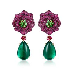 Ruby, Emerald and Sapphire Earrings by James Ganh
