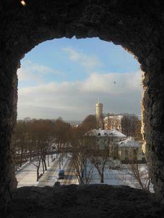 one of the views from a window archway in Kiek in de Kök, Vana Tallinn 12th Century, Monument Valley, Windows, City, Nature, Travel, Naturaleza, Viajes, Cities