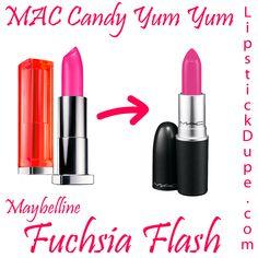 Maybelline Fuchsia Flash dupe MAC Candy Yum Yum #dupe #dupes #lipstickdupe #macdupe www.lipstickdupe.com