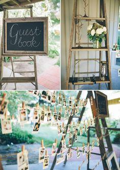 vintage rustic barn country polaroid wedding guest book and ladders Wedding Book, Rustic Wedding, Our Wedding, Trendy Wedding, Wedding Wall, Wedding Ideas, Wedding Vintage, Vintage Party, Polaroid Wedding