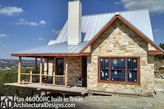 Hill Country Classic, Architectural Designs House Plan 46000HC, with a killer view of the Texas hills. 2 beds, 2 baths, 1,000+ sq. ft. Ready when you are. Where do YOU want to build?