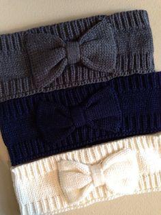 Knit Ear Warmer Headband with Bow by HaleyLaine on Etsy, $6.00