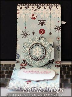 Karen Aicken using the A2 Pop 'n Cuts Base with included Circle Label insert plus the Bigz Butterflies & Labels for her greeting - Altered Scrapbooking: Wintertime Kit Pop 'n Cut Card #3