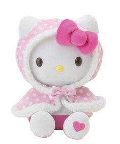 Beautiful Hello Kitty Hood/Cape Plush Soft Toy. Lovely supersoft plush toy. Has removable hood with velcro fastening. Height measures approx. 31cm x 24cm