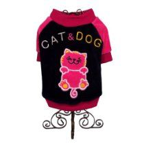 Dog and Cat Cute High Quality Baseball T-SHIRT - Small - Black and Pink - Mommy, I am all Ready for Sunday Outdoor Activities - Only 1 Left