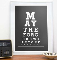 Star Wars print typography art poster Eye Chart - May the force be with You or 14 or 8 x 10 - choose your color Star Wars Party, Star Wars Desenho, Star Wars Zimmer, Star Wars Room, Star Wars Prints, Eye Chart, Kunst Poster, Star Wars Poster, The Force Is Strong
