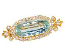 Edwardian Aquamarine Diamond Brooch