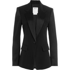 DKNY Tailored Blazer (£435) ❤ liked on Polyvore featuring outerwear, jackets, blazers, black, satin blazer jacket, satin lapel blazer, dkny jackets, dkny and satin shrug
