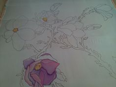 Батик: магнолии (шелк, краски для шелка) ФОТО #1