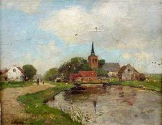 Jacob Maris - Dutch Village Landscape, 12 x 15""