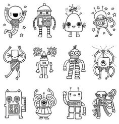 robots to color from etsy