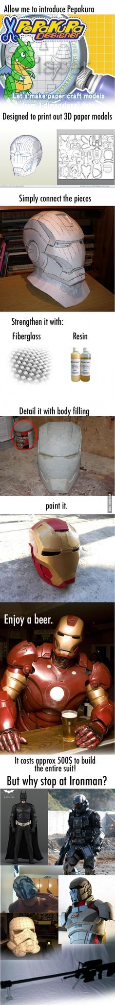Let's make your own Iron man suit Resources, Tools, and Materials for your Pepakura at www.PepakuraPros.com.