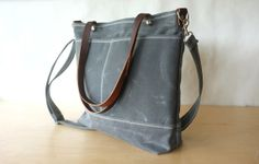 Waxed Canvas Diaper Bag - Charcoal Grey / Stripes - Front Pockets - Detachable Strap - Tote