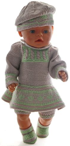 Knitting Patterns Girl knit dress knitting instructions - A beautiful ensemble with a great hat Knitting Dolls Clothes, Knitted Dolls, Doll Clothes Patterns, Clothing Patterns, Girls Knitted Dress, Knit Dress, Bitty Baby Clothes, American Doll Clothes, Clothes Crafts