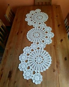 Good evening to all yapt runner s lounge team made the console the middleStudy in circles crochet motif table runner pattern – ArtofitOne of the most beautiful croc - SalvabraniHandmade home decor and more.Doileys table runner shabby chic vintage l Doilies Crafts, Lace Doilies, Crochet Doilies, Crochet Flowers, Crochet Home, Crochet Motif, Crochet Stitches, Crochet Patterns, Free Doily Patterns