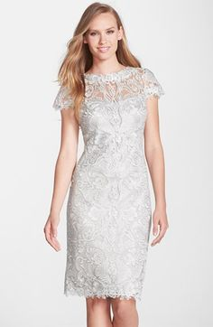 Mother of the Bride Dress: Tadashi Shoji Illusion Yoke Lace Sheath Dress available at Nordstrom