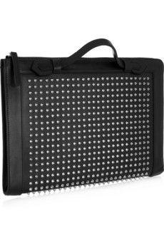 Christian Louboutin Romeo spiked leather portfolio clutch