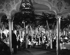 The Cocoanut Grove nightclub at the Ambassador Hotel on Wilshire Blvd. The place opened up in April 1921 and became famous almost immediately because of its decor.
