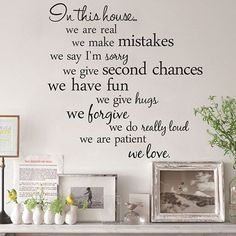 Removable Proverbs In This House 55.8*55.8cm Wall Stickers Home Decor ==