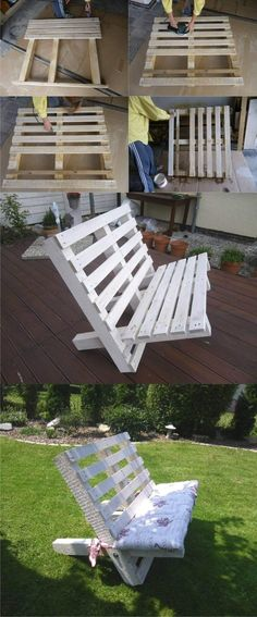 Wooden Pallet Projects A White Bench Created From Two Pallets - Outdoor pallet furniture ideas help you make your backyard into an outdoor living area that you can enjoy with your family. Find the best designs! Wooden Pallet Projects, Wooden Pallet Furniture, Pallet Crafts, Wooden Pallets, Pallet Sofa, Pallet Bench Diy, Bench From Pallets, Small Pallet, Pallet Shelves