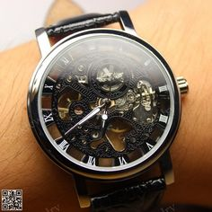 For Josh  Mens Mechanical wristwatches Steampunk Watch Black by seekjewelry, $20.99