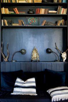 blue velvet. Dark paint a pretty place to read.