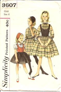 Simplicity 3607 - Girl's One-Piece Party Dress, Weskit and Hat: Dress has set-in sleeves, gathered skirt and tucked bodice front. YEAR - 1950's SIZE - 6 Complet