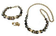 Tahitian pearls with shark vertebrae convertable necklace to bracelet