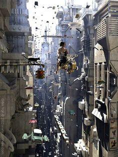 Future city life, 'cept more dystopian like Arte Cyberpunk, Cyberpunk City, Ville Cyberpunk, Futuristic City, Cyberpunk Anime, Futuristic Technology, Fantasy Kunst, Fantasy Landscape, Sci Fi Fantasy