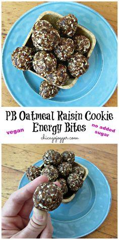 Peanut Butter Oatmeal Raisin Cookie Energy Bites - a no-bake, vegan snack recipe that tastes like dessert.  | Chicago Jogger