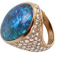 IRENE NEUWIRTH JEWELRY One of a Kind Lightening Ridge Black Opal Ring ($39,080) ❤ liked on Polyvore