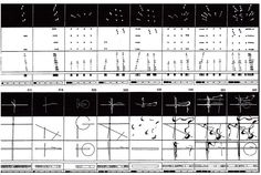 Tschumi, La Villette fireworks diagrams: A series of diagrams of a fireworks show held at Parc de la Vilette, a large park in Paris designed by Tschumi in the 1980s