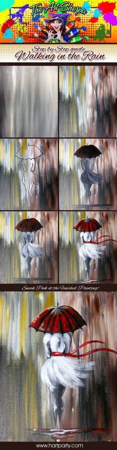 Walking In The Rain step by step. Canvas Acrylic paint in the colors Yellow Ocher, Burnt sienna, titanium white, Mars Black, and Cadmium Red. The Art Sherpa, Step By Step Painting, Acrylic Art, Acrylic Brushes, Art Mural, Wall Art, Learn To Paint, Painting Techniques, Painting & Drawing
