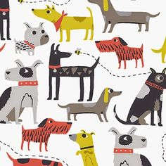 print & pattern blog: Andover Fabrics. Different types of dogs, colorful drawings.