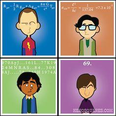 Big Bang Theory Squares - Original Artwork - Set of 4  original prints Sheldon Cooper Bazinga !