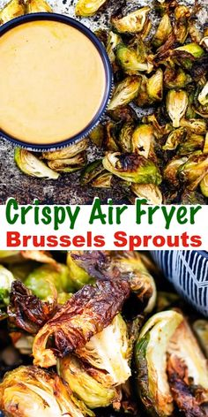 buffalo brussel sprouts Air Fryer Brussels Sprouts with Buffalo Ranch Dipping Sauce - - Air Fryer Recipes Videos, Air Fryer Recipes Snacks, Air Fryer Recipes Low Carb, Air Fryer Dinner Recipes, Air Fry Recipes, Sprout Recipes, Healthy Recipes, Keto Recipes, Ninja Recipes