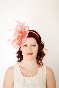 Coral Pink Fascinator Tea Party Hat Church Hat by QueenSugarBee Tea Hats 37c70c84afb