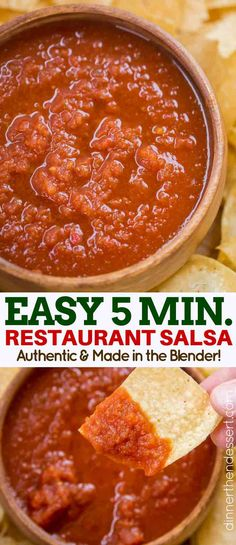 Restaurant Style Salsa Made In The Blender In Under Five Minutes With Tomatoes, . Restaurant Style Salsa Made In The Blender In Under Five Minutes With Tomatoes, Onions, Cilantro And Jalapenos. Never Buy Jarred Salsa Again! Restaurant Style Salsa, Resturant Salsa, Mexican Appetizers, Mexican Food Recipes, Appetizer Recipes, Mexican Dishes, Dinner Recipes, Chips And Salsa, Clean Eating Snacks