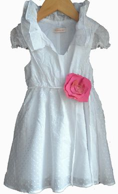 """5th grade graduation smartly chic in our Cecelia dress, White Alyce Dot with our """"Love' Blossom"""