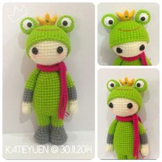 🐸 Mini Lalylala - Prince Frog 🐸👑, only tall Crochet Frog, Cute Crochet, Crochet For Kids, Crochet Crafts, Crochet Baby, Crochet Projects, Knit Crochet, Crochet Animal Patterns, Amigurumi Patterns