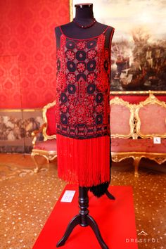 Evening tunic by Anely  Istanbul, 1923  Black silk, embroidery with silver thread and red beads