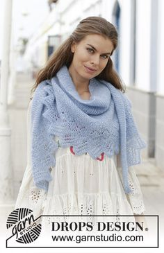 Opaline - Knitted shawl in garter stitch with lace pattern. Piece is knitted sideways in 2 strands DROPS Kid-Silk. - Free pattern by DROPS Design Knitting Designs, Knitting Patterns Free, Free Knitting, Drops Patterns, Lace Patterns, Crochet Patterns, Drops Design, Garter Stitch, Knitted Shawls