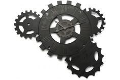 Horloge murale engrenage noire 71 x 51 cm - Horloge Design Pas Cher