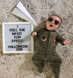 """""""I feel the need for speed!"""" Or in Will's case a nap! Happy Halloween from my little Maverick! Halloween Baby Pictures, Baby Halloween Costumes, Baby Costumes, Happy Halloween, Boys Accessories, Baby Milestones, Little Man, Photo Shoots, Baby Fever"""